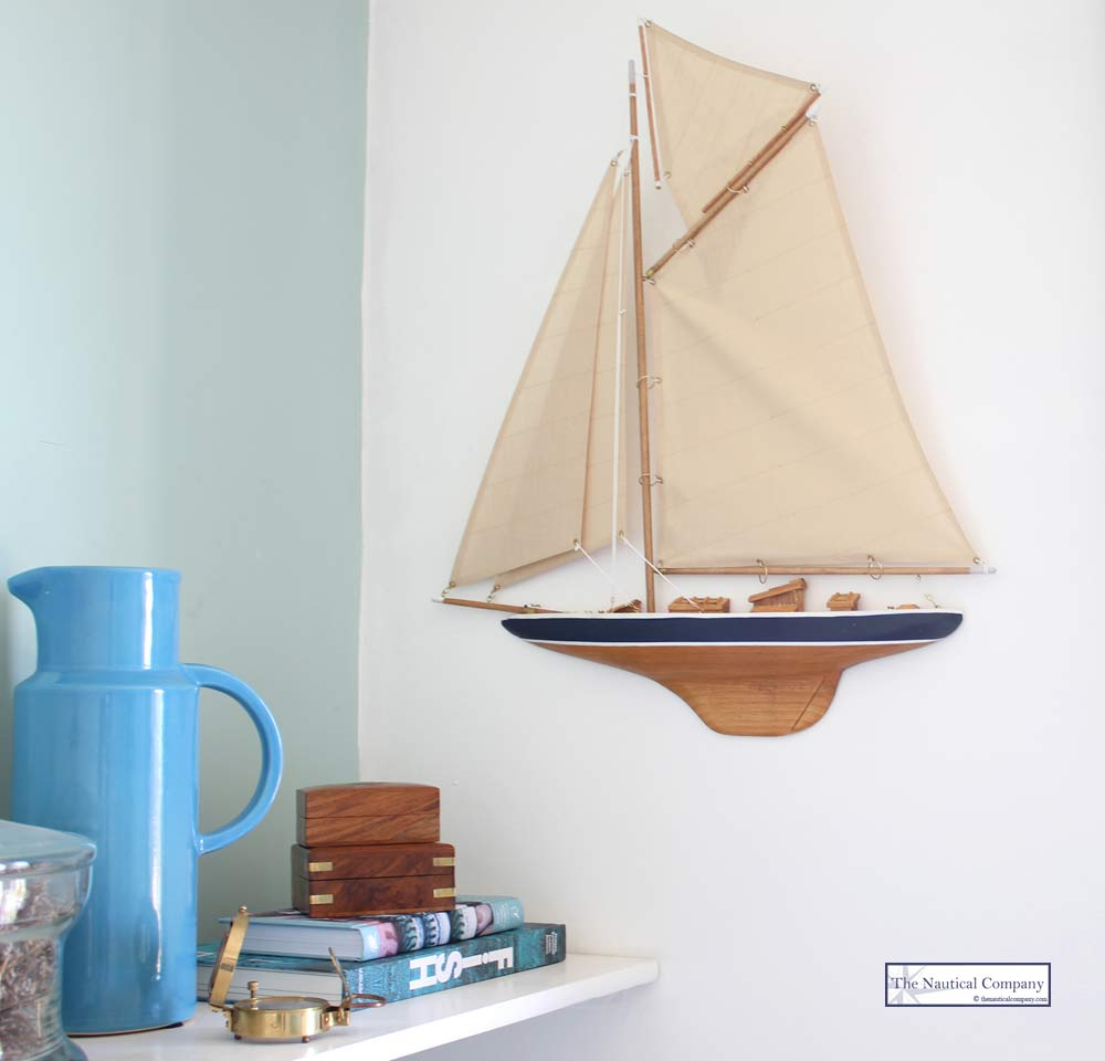 Half Hull Sailing Boat Wall Mounted Gaff Rig The
