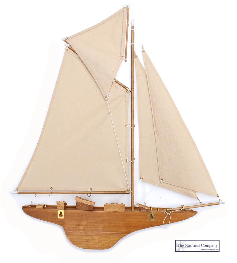 Half Hull Sailing Boat Wall Mounted Gaff Rig The