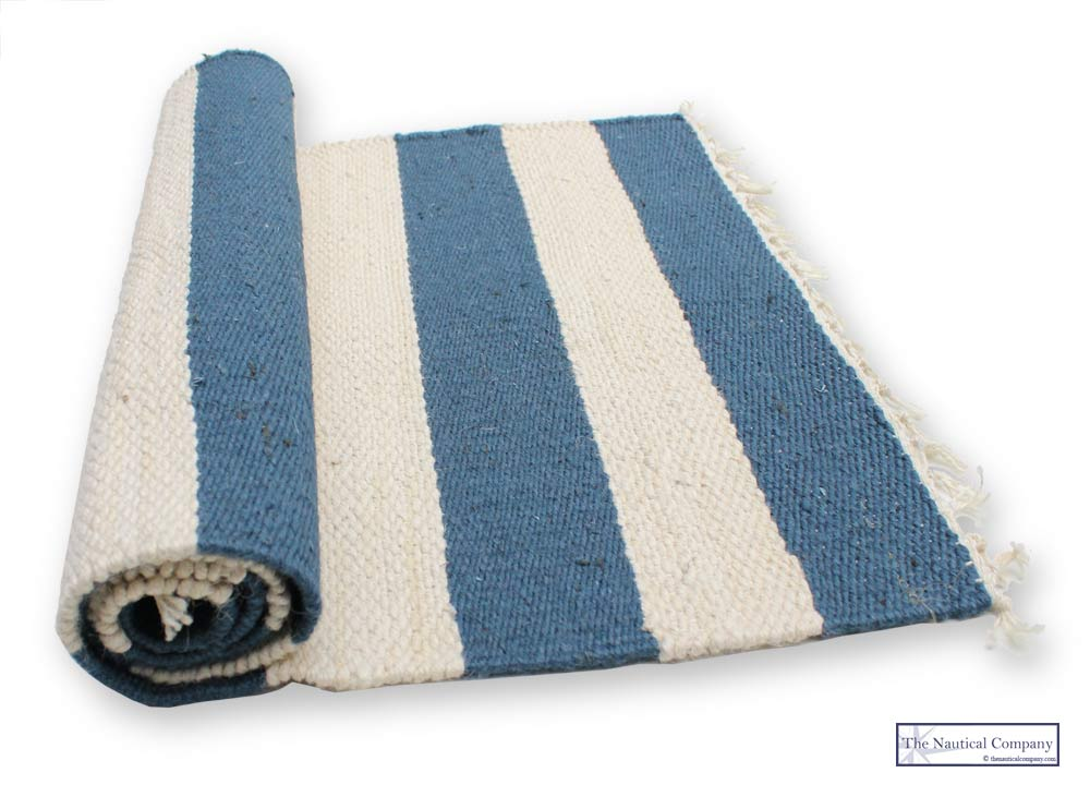 Striped Jute Rug Cream Blue